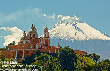 Cholula_Remedios-Church-Popocatepetl